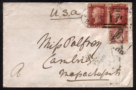 view larger front view of image for Pair of 1d Red Plates from Plate 195 and a �d Plate for Plate 13 cancelled with a HELENSBURGH duplex dated NO 18 77 with a ROSENEATH transit cancel on back addressed to 'MASACHITSIT' A (USA)