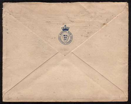 view larger back view of image for 2�d  Ultramarine - A vertical pair on small NATIONAL CLUB - WHITEHALL GARDENS S.W. envelope cancelled with an early LONDON S W machine cancel dated SEP 14 1904 sent to NEW YORK 'TRIBUNE' newspaper.