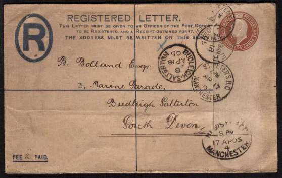 view larger front view of image for Edward 7th Registered letter envelope, REGISTERATION 2d - POSTAGE 1d cancelled with am oval REGISTERED - MANCHESTER dated 17 AP 05 to BIDLEIGH SALTERTON - SOUTH DEVON.