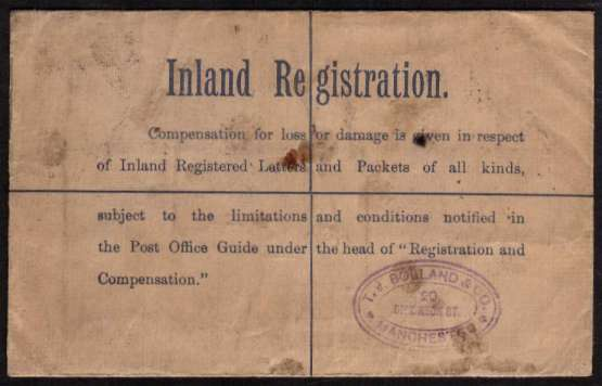 view larger back view of image for Edward 7th Registered letter envelope, REGISTERATION 2d - POSTAGE 1d cancelled with am oval REGISTERED - MANCHESTER dated 17 AP 05 to BIDLEIGH SALTERTON - SOUTH DEVON.