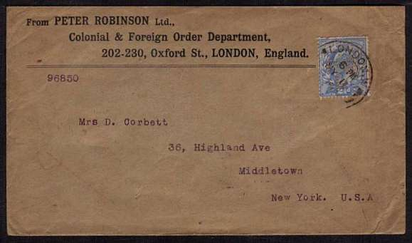 view larger front view of image for 2�d Pale Ultramarine PERFINED cancelled with an almost complete double rings CDS dated MY 11 06 on a business, printed return address from PETER ROBINSON - OXFORD STREET - LONDON with typed address to MIDDLETOWN - NEW YORK - USA