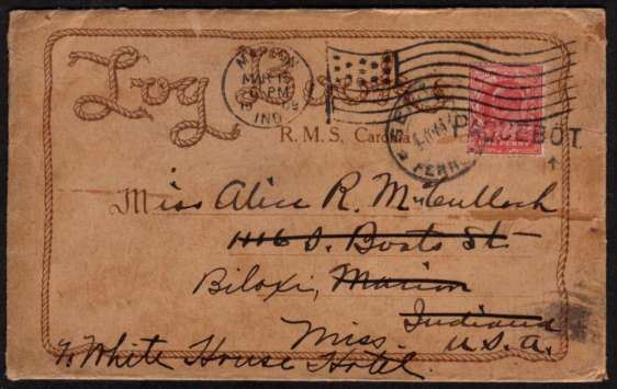 view larger front view of image for 1d Scarlet on a printed envelope reading ''LOG BOOK'' cancelled with  a straight line PAQUEBOT sent to MARION - INDIANA the re-addressed to BILOXI - MISS - USA arriving MAR 18 1909.