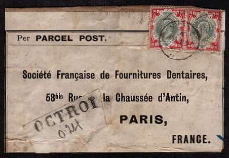 view larger front view of image for Pair of 1/-  Green and Carmine on PARCEL POST front sent to PARIS - FRANCE and rated on frant at ''24'' (for 2/-) The adhesives are perfined ''CA & S'' and is a ''mirror'' pair of each other. Unusual.