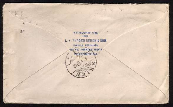 view larger back view of image for 2�d Dull Blue - Perforation 15x14 on neat envelope cancelled with a PORTSMOUTH machine cancel dated 28 MAR 12 to a British ADMIRALTY CONTRACTOR in SKIEN - NORWAY with a business handstamp on back in Blue.