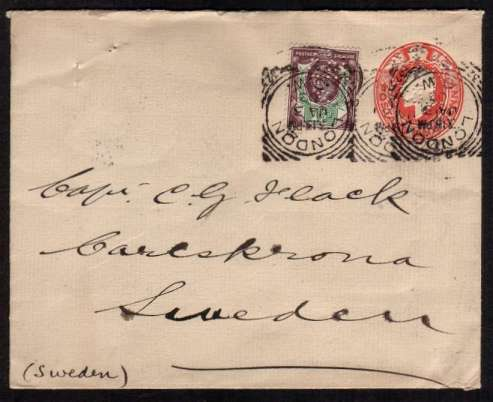 view larger front view of image for 1�d Purple and Green on a 1d Red Postal Stationery envelope both stamps perfined ''A & N'' ''C & L'' cancelled with a LONDON - SW squared circle dated JA 3 03 addressed to SWEDEN bearing an arrival mark on back for KARLSKRUNA. Unusual and pretty!