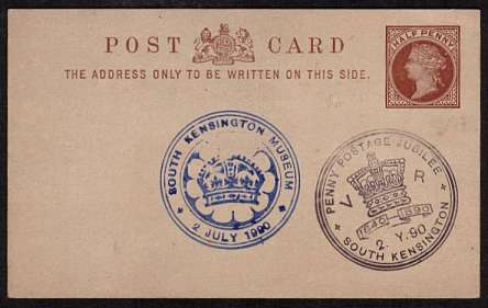 view larger front view of image for Uniform Penny Postage Jubilee cancels for SOUTH KENSINGTON MUSEUM dated 2 JULY 1990 and PENNY POSTAGE JUBILEE - SOUTH KENSINGTON - 2 JY 90 on Halfpenny Brown POST CARD