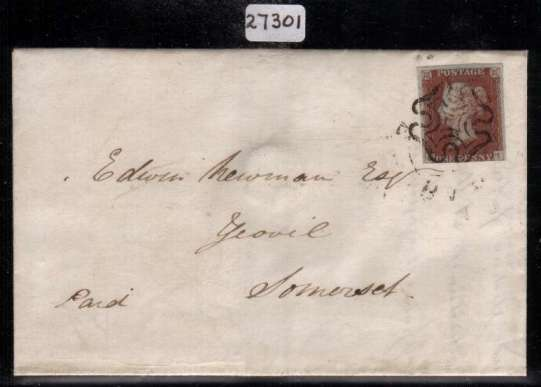 view larger front view of image for 1d Red-Brown imperforate from Plate 1b lettered ''O-I'' showing the re-entry on a entire from BARNSTABLE to YEOVIL dated 24 June 1841 with the benefit of a BRANDON certificate stating Genuine. SG Spec Cat AS6b
