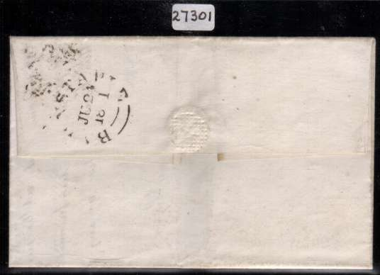 view larger back view of image for 1d Red-Brown imperforate from Plate 1b lettered ''O-I'' showing the re-entry on a entire from BARNSTABLE to YEOVIL dated 24 June 1841 with the benefit of a BRANDON certificate stating Genuine. SG Spec Cat AS6b