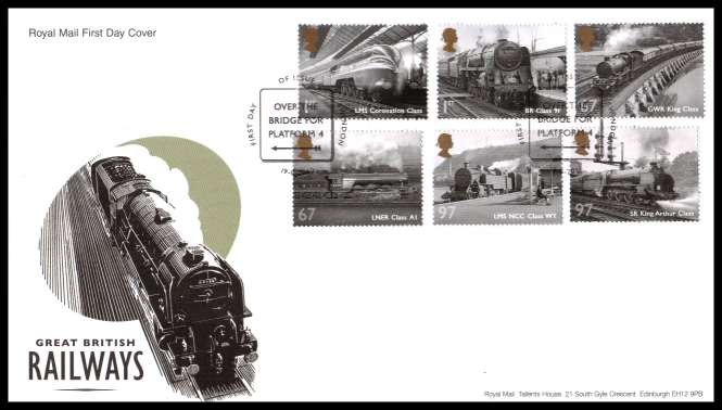 view larger back view image for Great British Railways set of six on an unaddressed official Royal Mail FDC cancelled with the official alternative FDI cancel for SWINDON dated 19 8 2010
