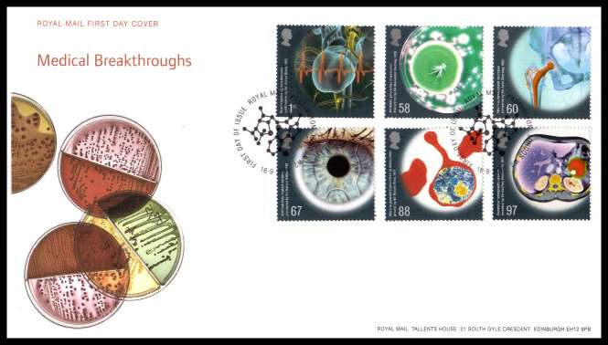 view larger back view image for Medical Breakthroughs set of six on an unaddressed official Royal Mail FDC cancelled with the official alternative FDI cancel for PADDINGTON LONDON W2  dated 16-9-2010