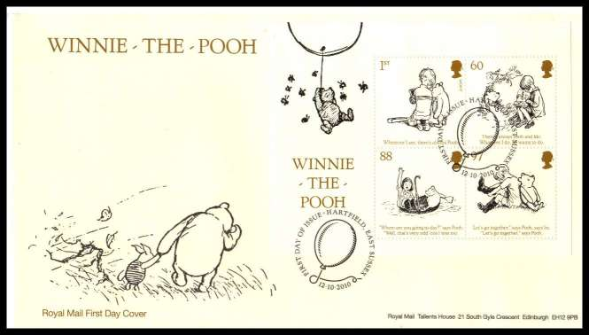 view larger back view image for Winnie The Pooh minisheet on an unaddressed official Royal Mail FDC cancelled with the official alternative FDI cancel for HARTFIELD - EAST SUSSEX  dated 12-10-2010