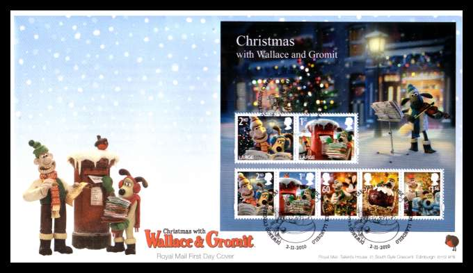 view larger back view image for Christmas - Wallace and Gromit minisheet on an unaddressed official Royal Mail FDC cancelled with the official alternative FDI cancel for BETHLEHEM - LLANDEILO dated 2-11-2010