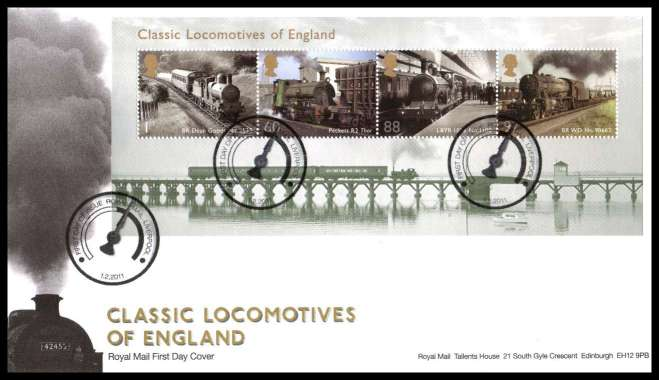view larger back view image for Classic Locomotives of England minisheet on an unaddressed official Royal Mail FDC cancelled with the official alternative FDI cancel for LIVERPOOL dated 1-2-2011