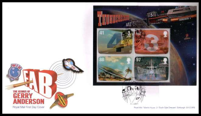 view larger back view image for The Genius of Gerry Anderson minisheet on an unaddressed official Royal Mail FDC cancelled with the official alternative FDI cancel for SLOUGH dated 11-1-2011