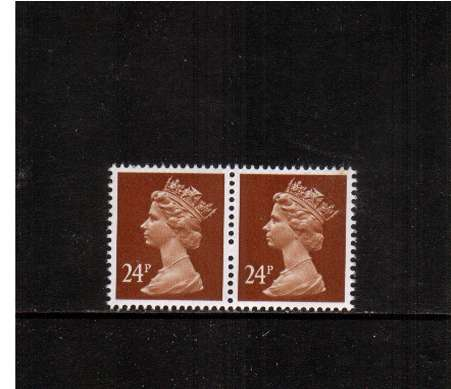 view larger image for SG X969var (1991) - 24p Chestnut - Phosporised Paper. A superb unmounted mint horizontal pair showing an excellent example of a ''Broken Pin'' variety between the two stamps.
