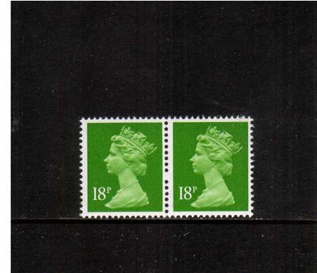 view larger image for SG X913var (1991) - 18p bright Green - Centre Band. A superb unmounted mint horizontal pair showing an excellent example of a ''Broken Pin'' variety between the two stamps
