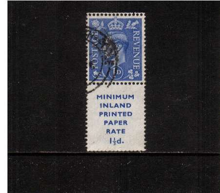 view larger image for SG 504Wivar (1951) - 1d Light Ultramarine - with inverted watermark.  A fine used booklet single with 17mm inscription tab.  
