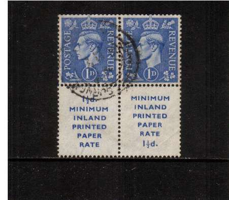 view larger image for SG 504var (1951) - 1d Ultramarine watermark upright. A fine used pair of booklet stamps showing both versions of the booklet label.