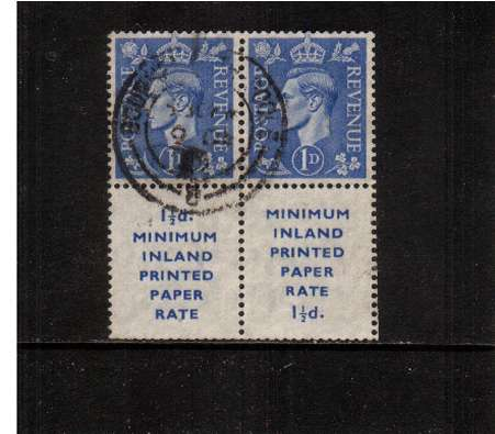view larger image for SG 504Wivar (1951) - 1d Ultramarine watermark inverted. A fine used pair of booklet stamps showing both versions of the booklet label.