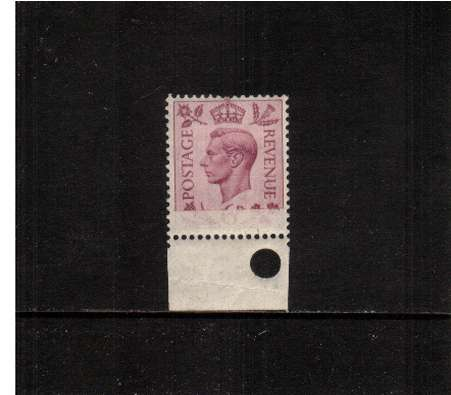 view larger image for SG 470var (1939) - 6d Pruple. A fine lightly mounted mint lowere marginal single (with hole punch) showing a large part of lower part of stamp unprinted. Unusual.
