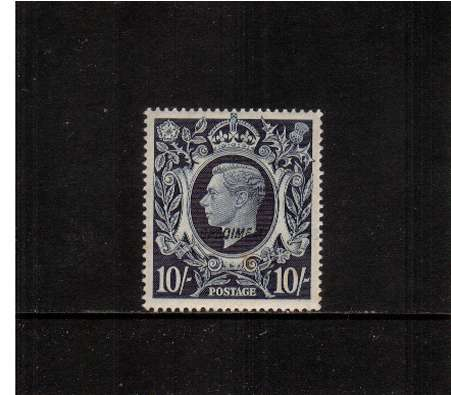 view larger image for SG 478as (1939) - 10/- Dark Blue overprinted SPECIMEN - Type 23<br/>fine lightly mounted mint. 