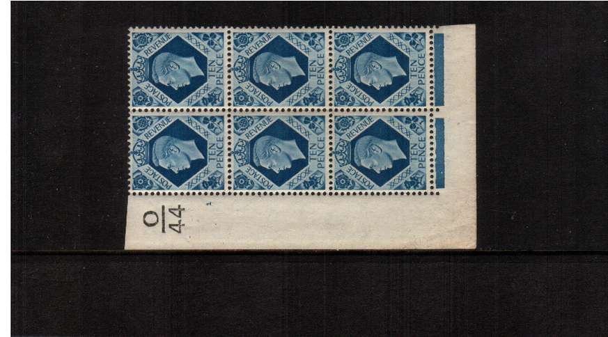 view larger image for SG 474 (1939) - 10d Turquoise-Blue - A superb unmounted mint cylinder block of six (trace of hinge mark on one stamp) showing Cylinder 1 - Control O|44 SG Cat �70 