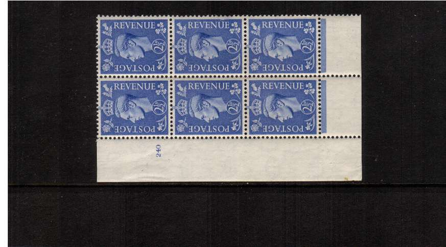 view larger image for SG 489 (1941) - 2�d Light Ultramarine in an unmounted mint<br/>cylinder block of six showing  Cylinder 240.