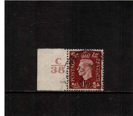 view larger image for SG 464var (1937) - 1�d Red-Brown. A fine used Cylinder  single showing Cylinder 96 with Control C|38