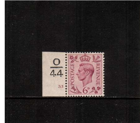 view larger image for SG 470var (1939) - 6d Purple. A superb unmounted mint Cylinder number<br/>single showing Cylinder 33 - Control O|44