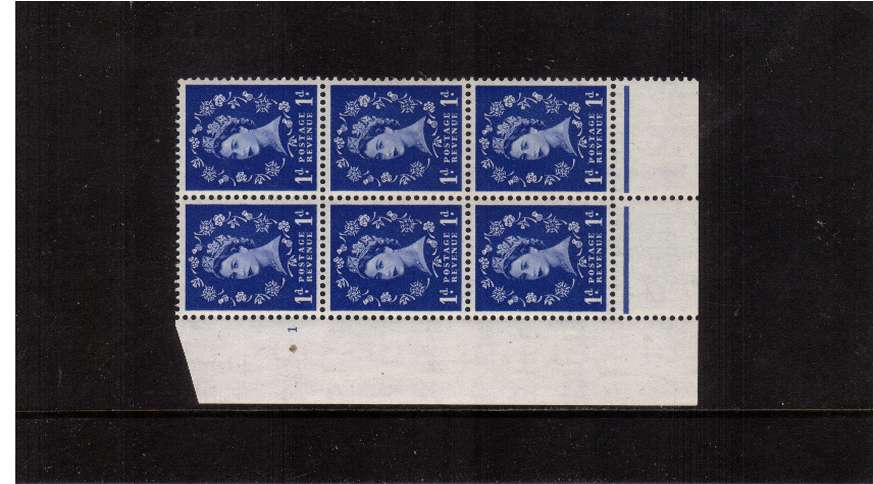 view larger image for SG 516 (1953) - 1d Ultramarine - Watermark Tudor Crown . A superb unmounted mint cylinder block of six showing 1 - Perf Type B