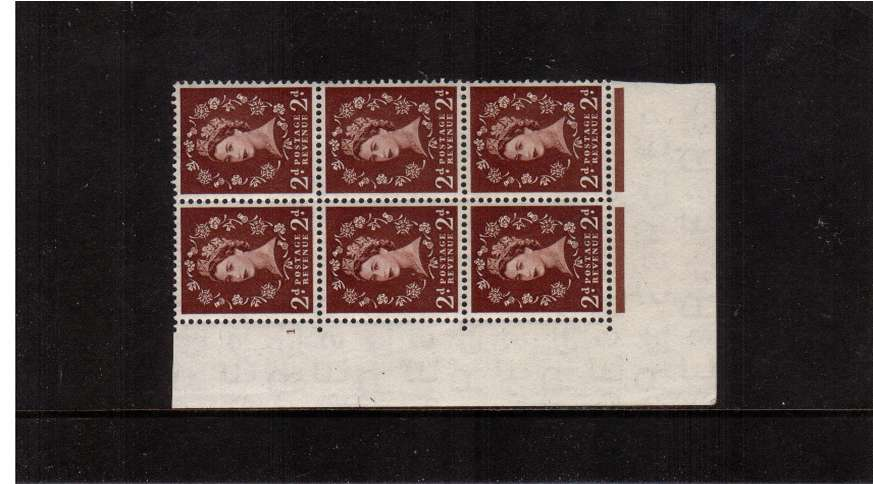 view larger image for SG 518 (1953) - 2d Red-Brown - Watermark Tudor Crown . A superb unmounted mint cylinder block of six showing 1 - Perf Type A