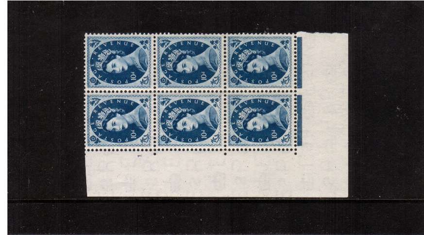 view larger image for SG 527 (1953) - 10d Prussian Blue - Watermark Tudor Crown . A superb unmounted mint cylinder block of six showing 1 - Perf Type A