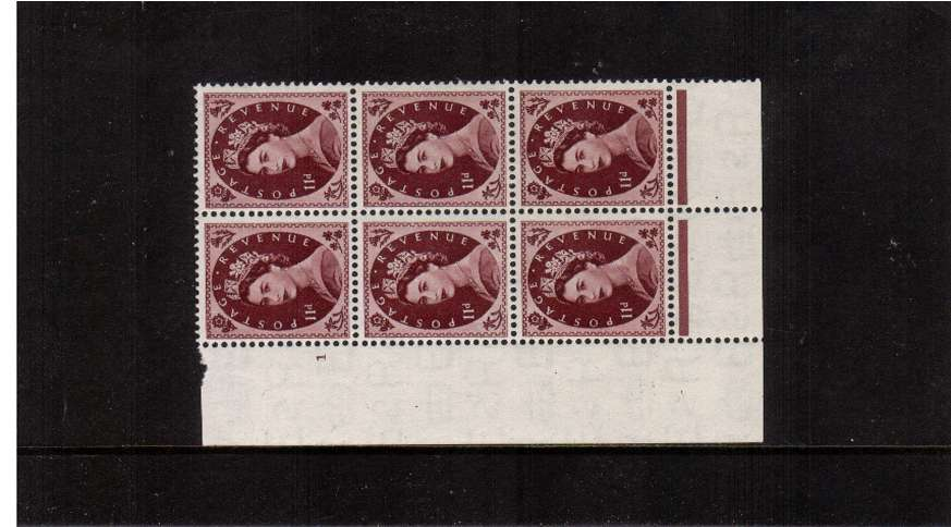 view larger image for SG 528 (1953) - 11d Brown-Purple - Watermark Tudor Crown . A superb unmounted mint cylinder block of six showing 1 