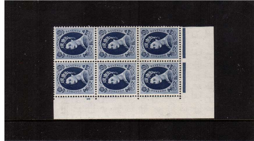 view larger image for SG 531 (1953) - 1/6d  Grey-Blue - Watermark Tudor Crown . A superb unmounted mint cylinder block of six showing 1 Perf Type A