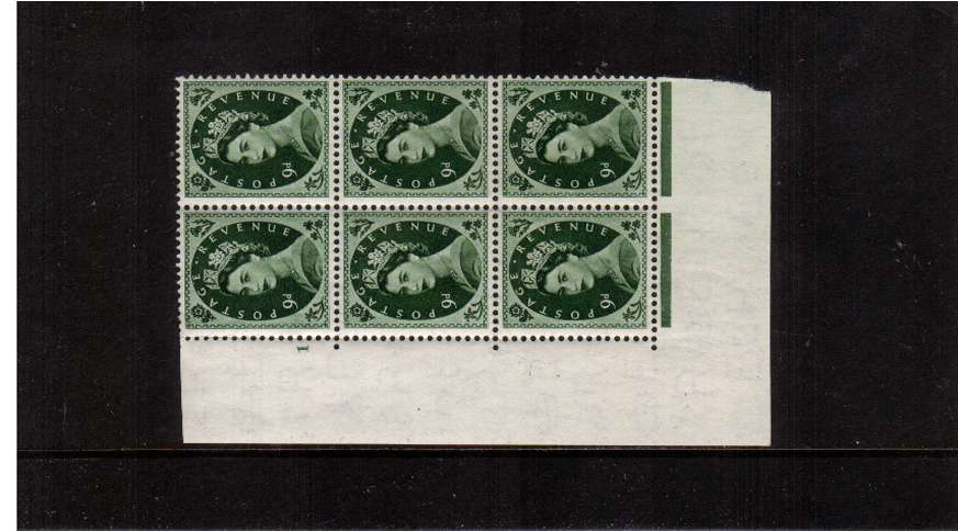 view larger image for SG 526 (1953) - 9d Bronze-Green - Watermark Tudor Crown . A superb unmounted mint cylinder block of six showing 1 - Perf Type A