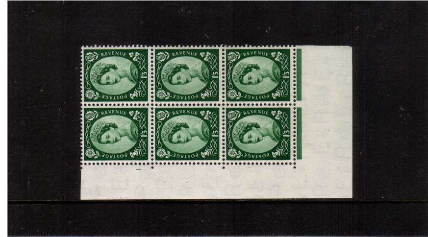view larger image for SG 530 (1953) - 1/3d Green - Watermark Tudor Crown . A superb unmounted mint cylinder block of six showing 1 - Perf Type A