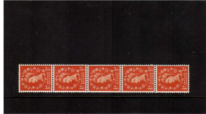 view larger image for SG 515var (1953) - �d Orange - Watermark Tudor Crown . A superb unmounted mint vertical unfolded COIL strip of five.