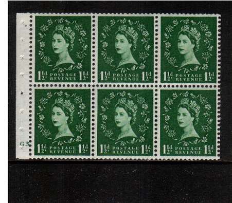 view larger image for SG SB59 (1953) - 1�d Green - Watermark Tudor Crown.<br/>A superb 