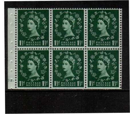 view larger image for SG SB59 (1953) - 1�d Green - Watermark Tudor Crown.<br/> A superb 