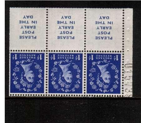 view larger image for SG SB24a (1953) - 1d Ultramarine - Watermark Tudor Crown.<br/>