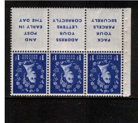 view larger image for SG SB25a (1955) - 1d Ultramarine - Watermark Tudor Crown.<br/>