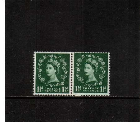 view larger image for SG 563var (1957) - 1�d Green - Watermark Edward - GRAPHITE LINES<br/>