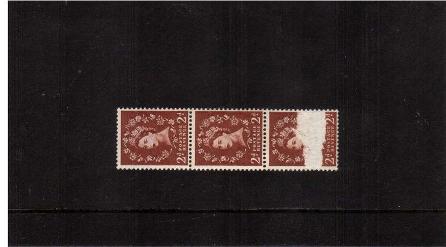view larger image for SG 573var (1958) - 2d Red-Brown - Watermark Multiple Crowns<br/>