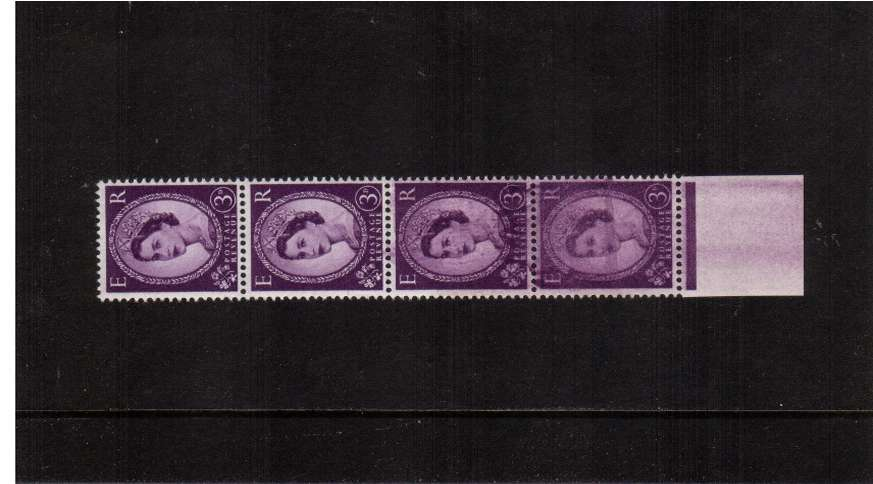 view larger image for SG 575var (1958) - 3d Deep Lilac - Watermark Multiple Crowns<br/>A superb unmounted lower marginal vertical strip of<br/>four showing a major inking flaw affecting the lower<br/>three stamps. Unusual