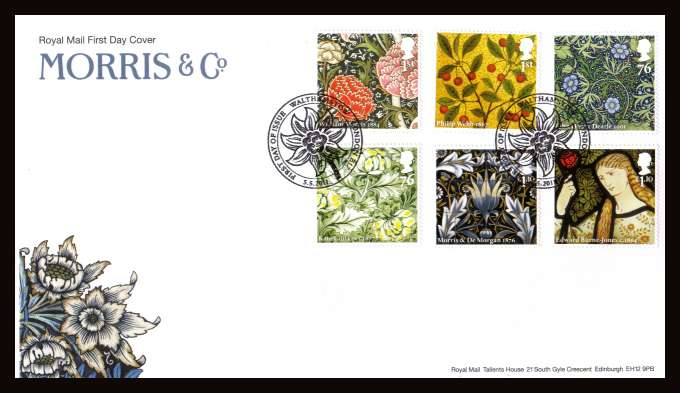 view larger back view image for William Morris & Co set of six on an unaddressed official Royal Mail FDC cancelled with the official alternative FDI cancel for WALTHAMSTOW - LONDON E17 dated 5-5-2011