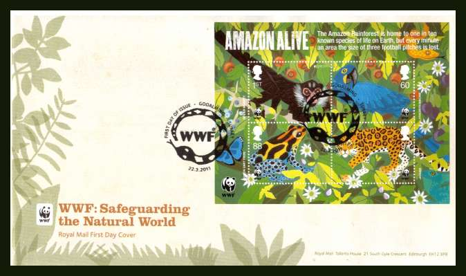 view larger back view image for 50th Anniversary of WWF minisheet on an unaddressed official Royal Mail FDC cancelled with the official alternative FDI cancel for GODALMING - SURREY dated 22-3-2011