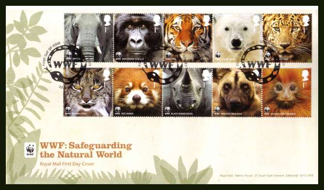 view larger back view image for 50th Anniversary of WWF set of ten on an unaddressed official Royal Mail FDC cancelled with the official alternative FDI cancel for GODALMING - SURREY dated 22-3-2011