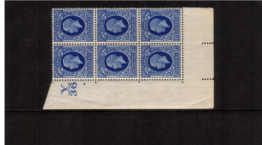 view larger image for SG 443 (1935) - 2�d Blue<br/> A superb unmounted mint cylinder block of six showing Cylinder 8 and Control Y36 - Perf Type 5. Note this block shows the illustrated variety on R18/1 