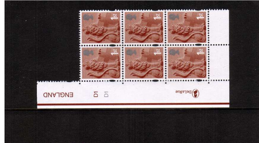 view larger image for SG EN7 (14 Oct 2003) - 1st Class in a superb unmounted mint cylinder block of six showing cylinder numbers D1 D1<br/>TYPE II