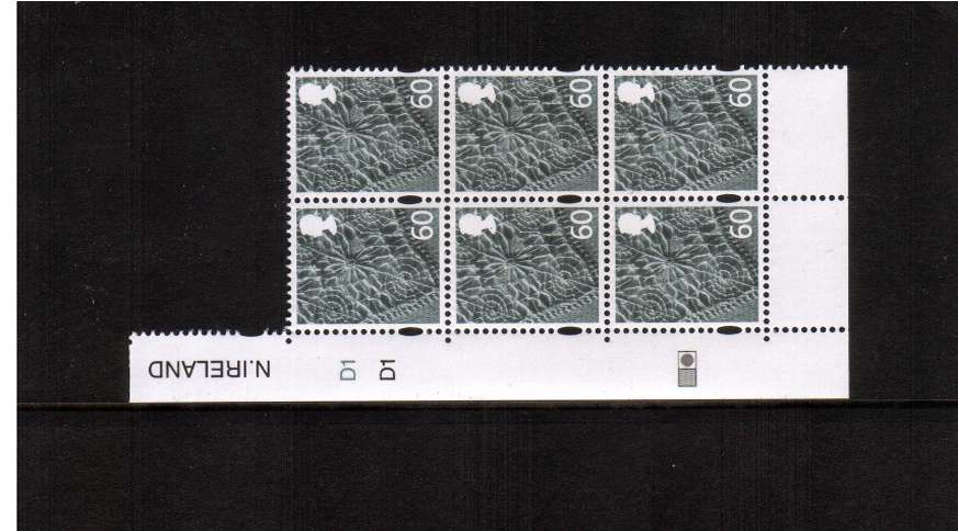 view larger image for SG NI127 (30 Mar 2010) - 60p in a superb unmounted mint cylinder block of six showing cylinder numbers D1 D1